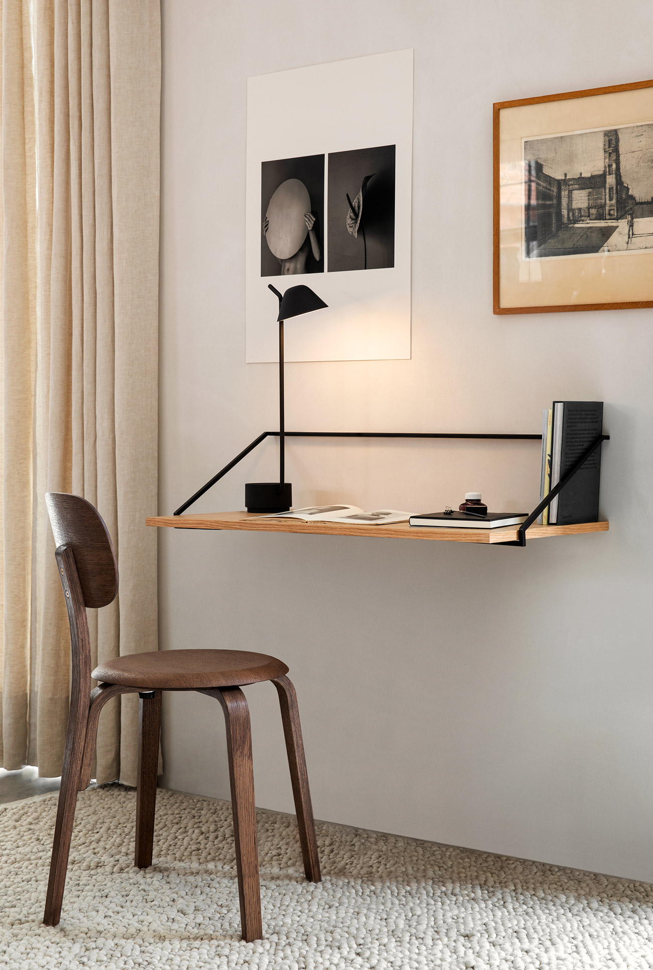 Rail desk, afteroom dining chair and peek lamp by Menu