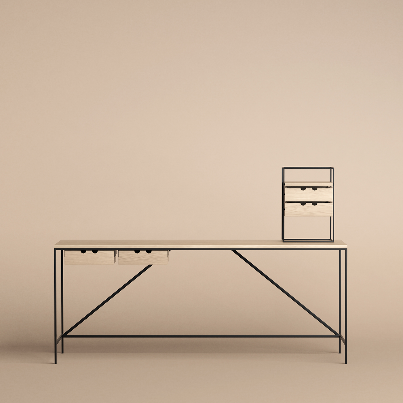 Desk Series console and organiser in oak by Karakter