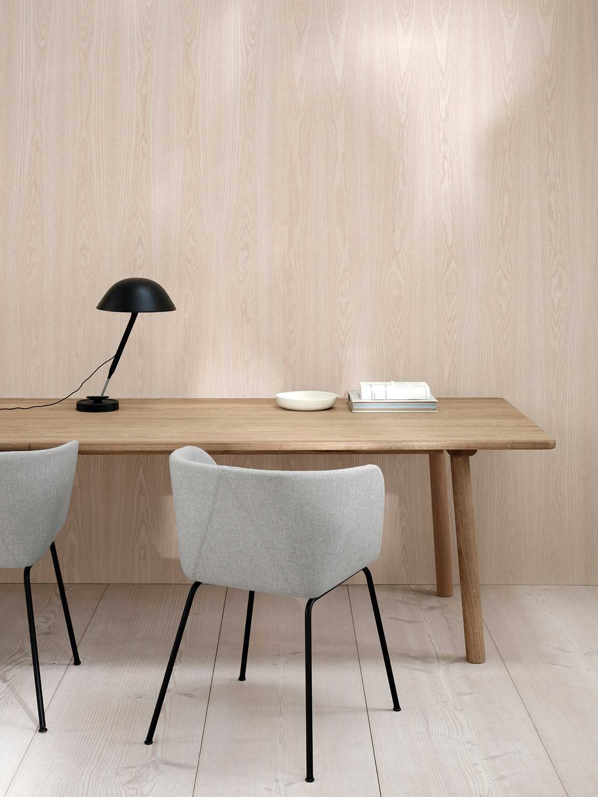 Verve 4 leg chair and Taro table in smoked oak by Fredericia