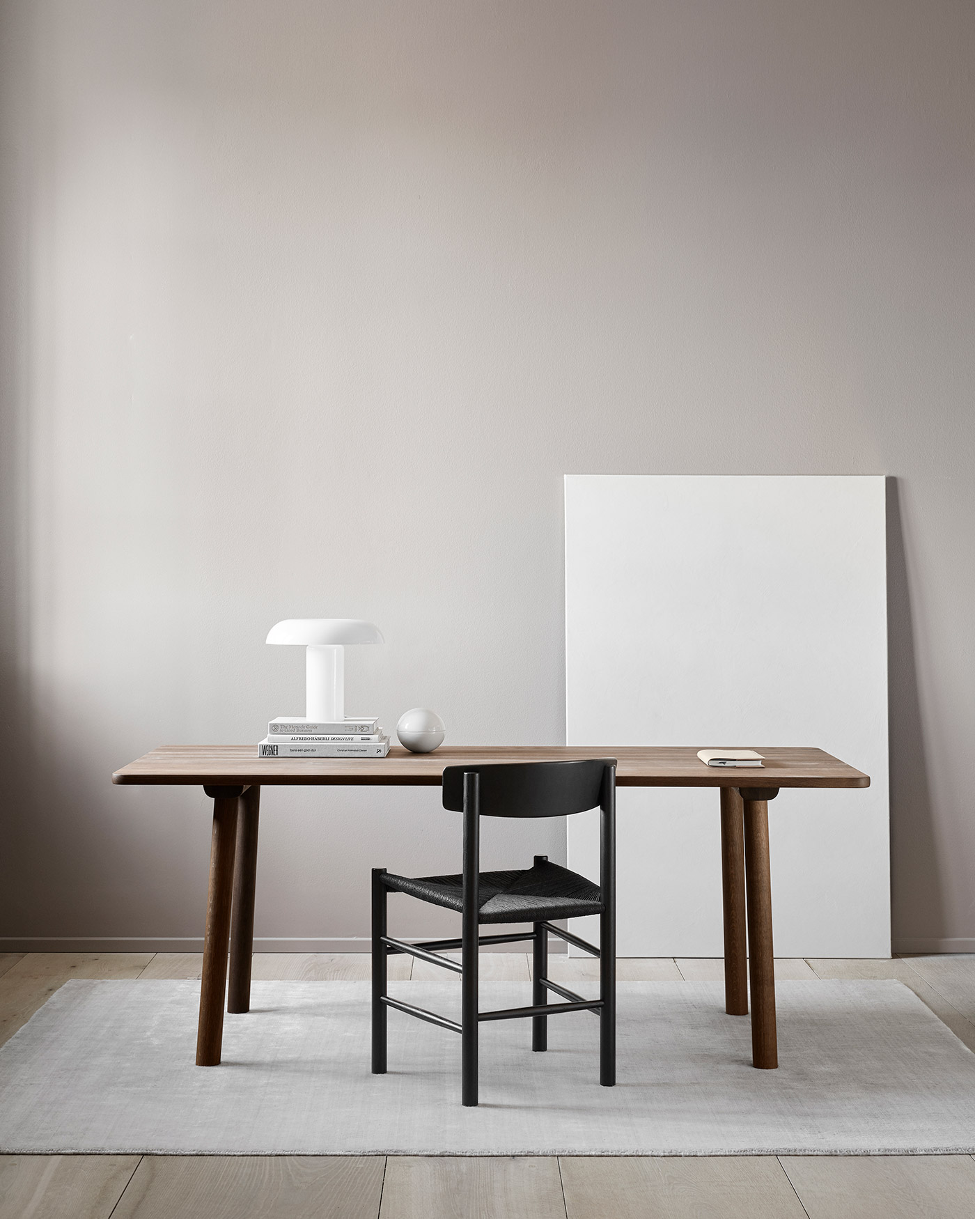 Mogensen J39 chair in black, Taro table in smoked oak by Fredericia