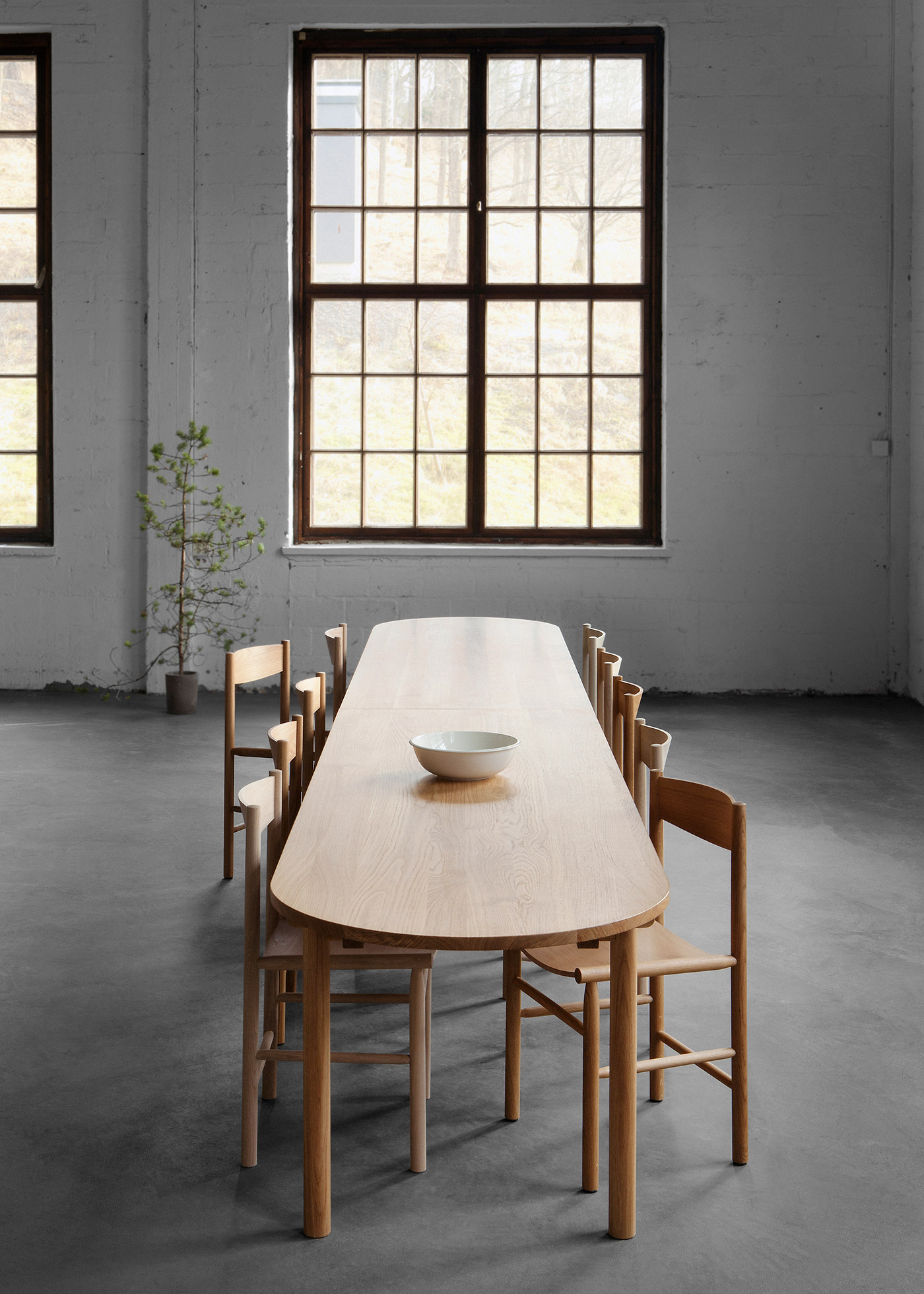Long wooden oak dining table and chair in industrial space