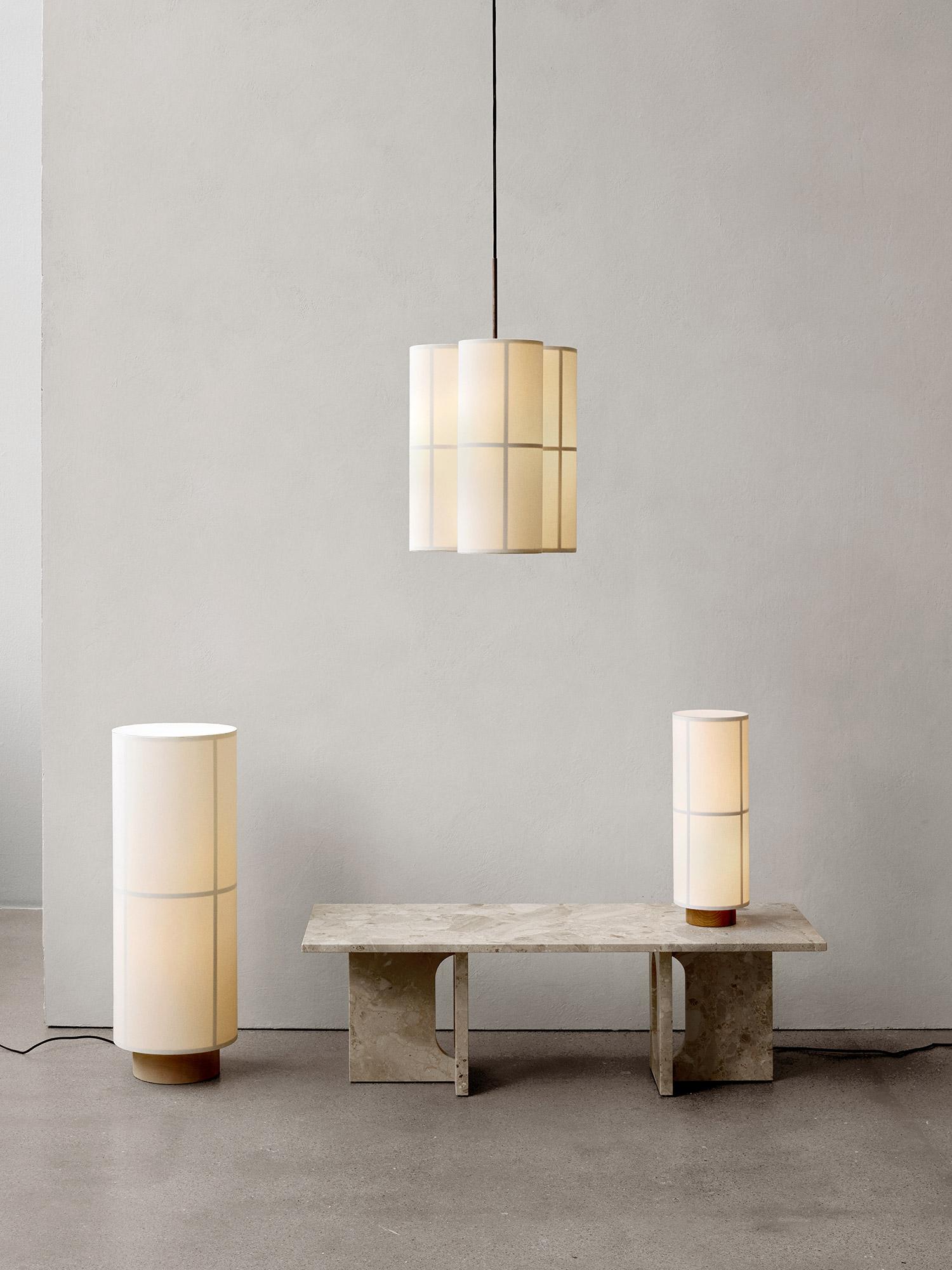 Hashira lighting collection, marble table, grey wall