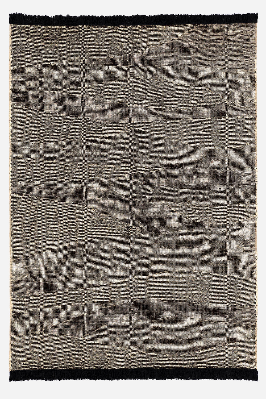 Telares kilim wool rug in ebony