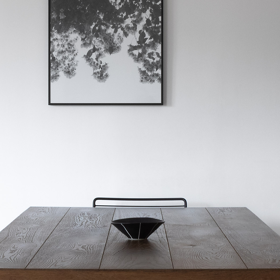 Oak table top with black Japanese bowl