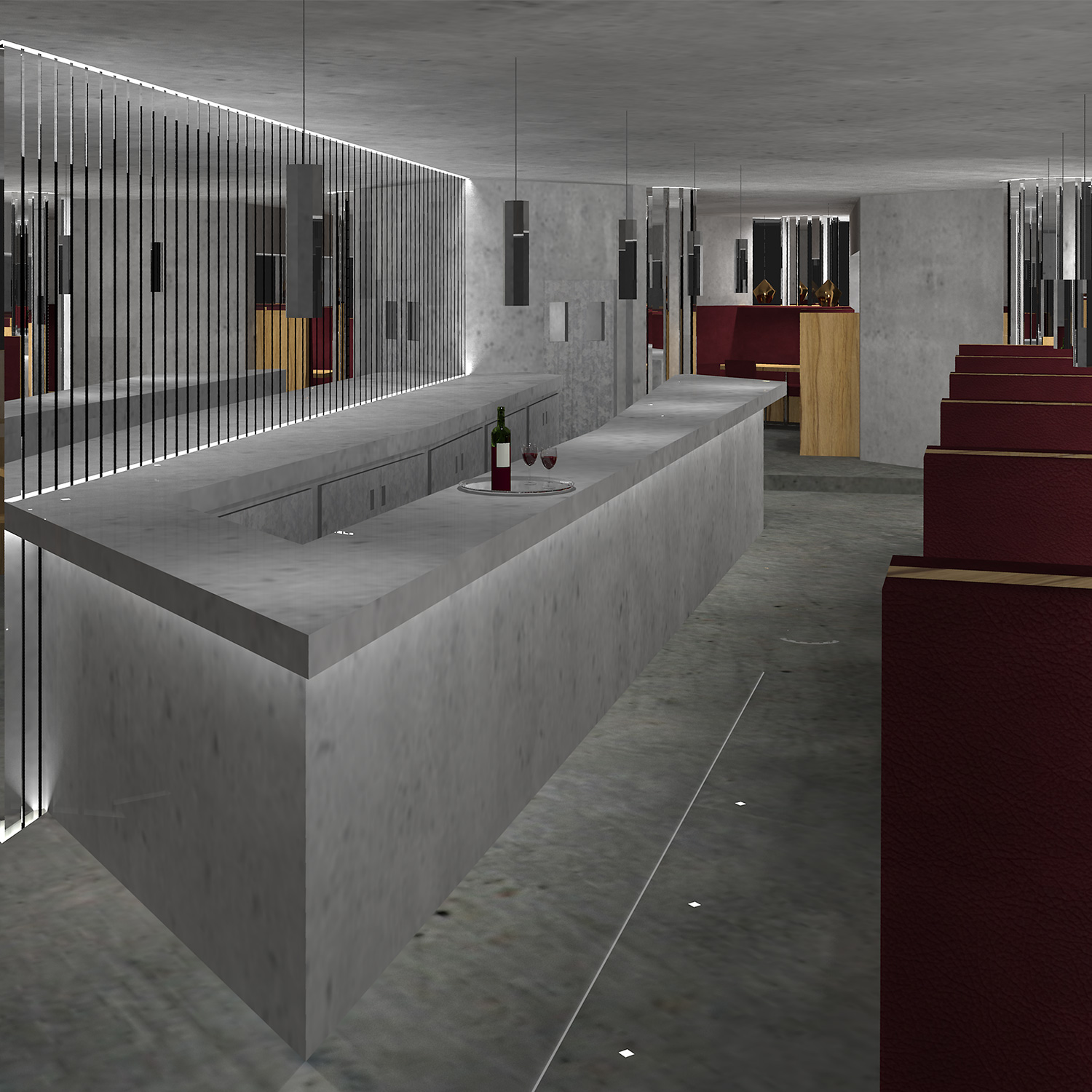 CGI modern art deco cocktail bar with concrete walls, chrome bars, pendants and oxblood leather seats