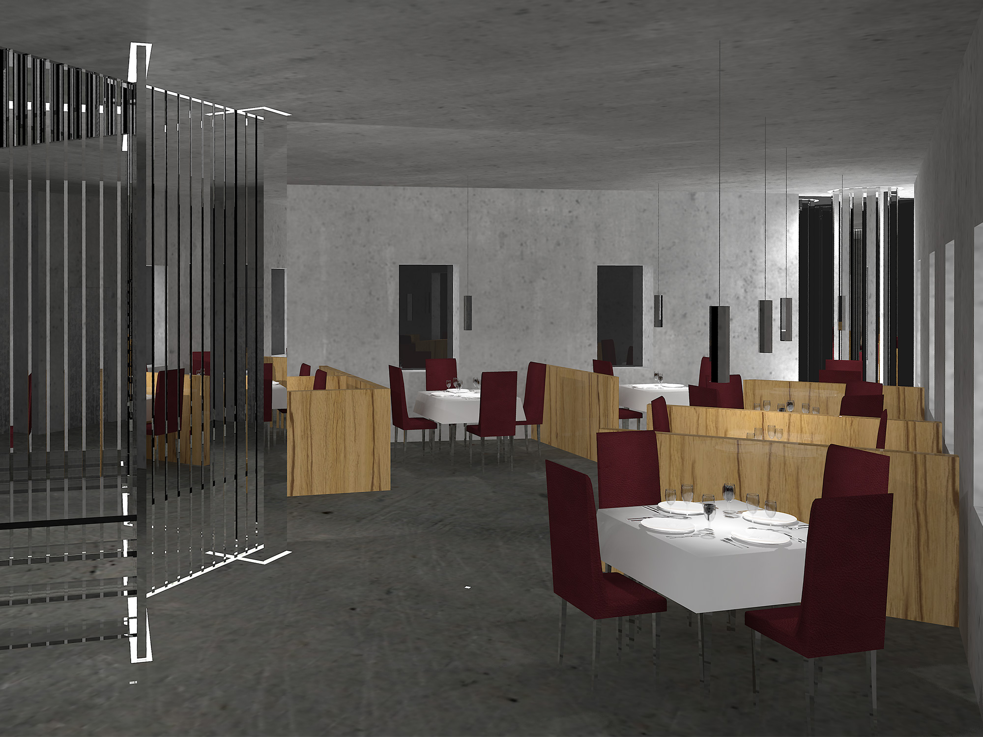 CGI modern art deco restaurant entrance with concrete walls, oak partitions, glass staircase, chrome columns and oxblood leather seats