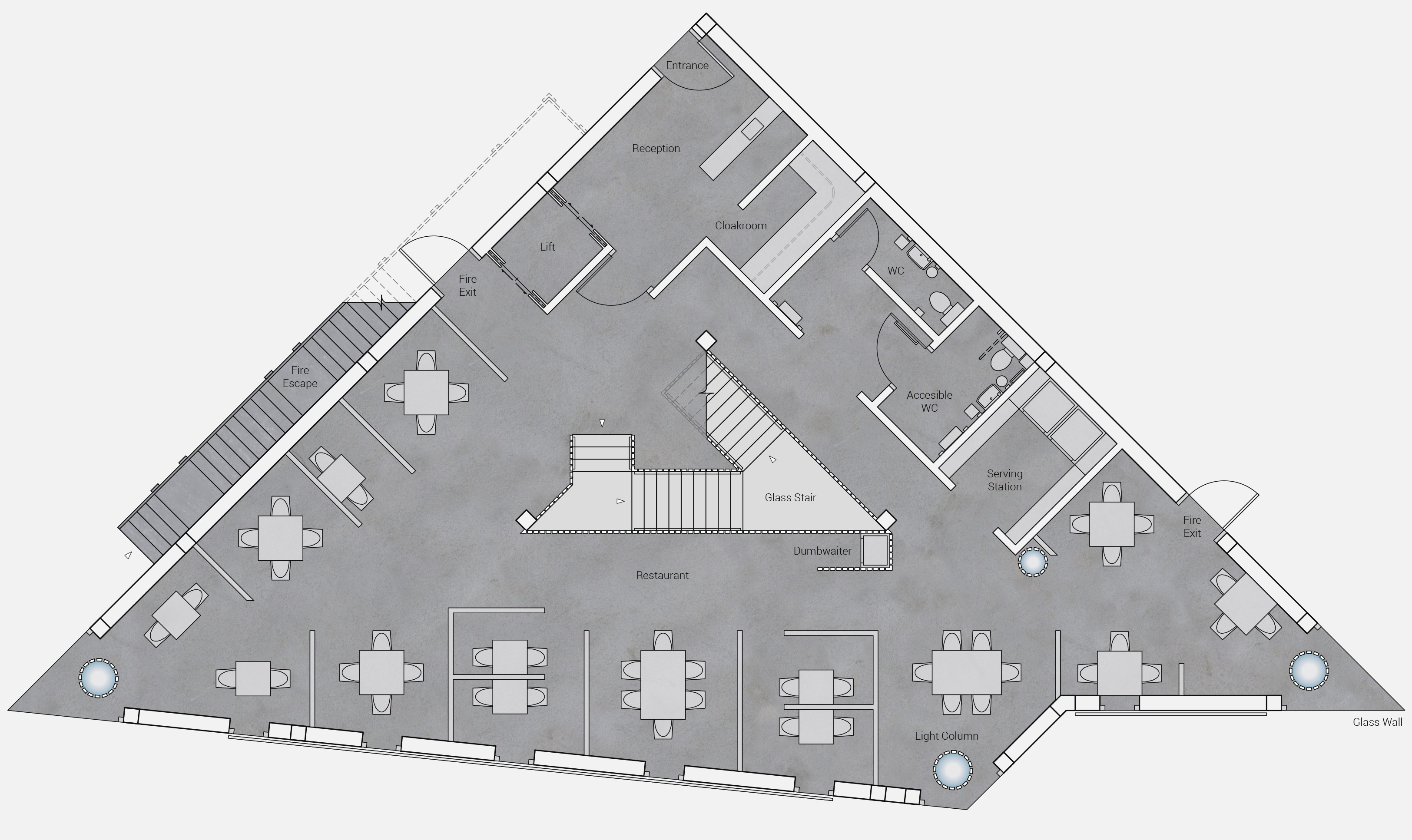 Interior design ground floor plan for Prohibit restaurant