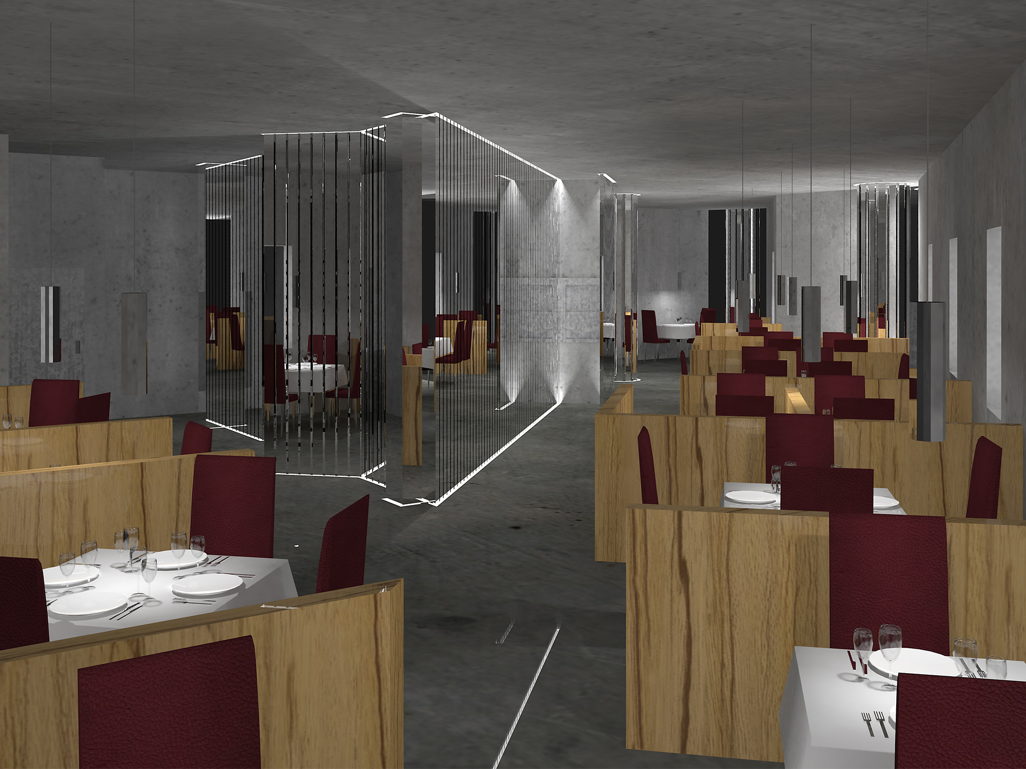 CGI modern art deco restaurant with concrete walls, chrome bar staircase and pendants, oak partitions and oxblood leather seats