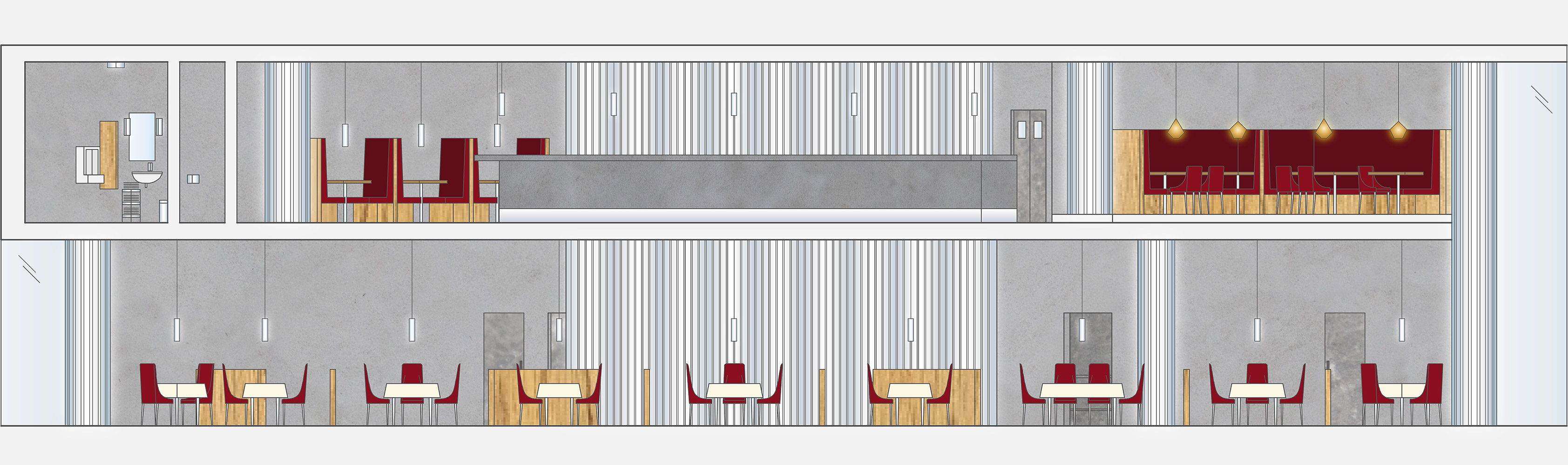 Interior elevation for Prohibit restaurant