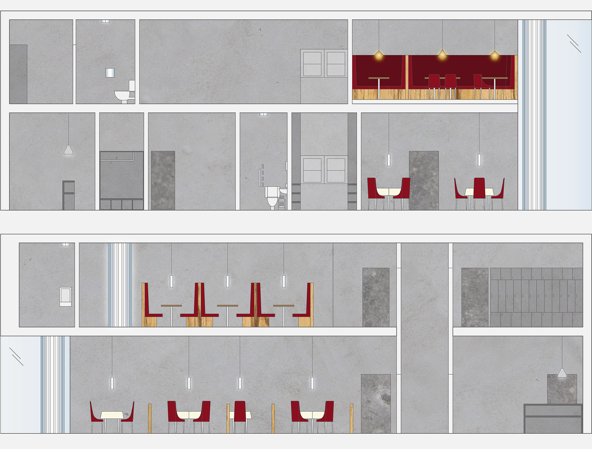 Interior elevations for Prohibit restaurant