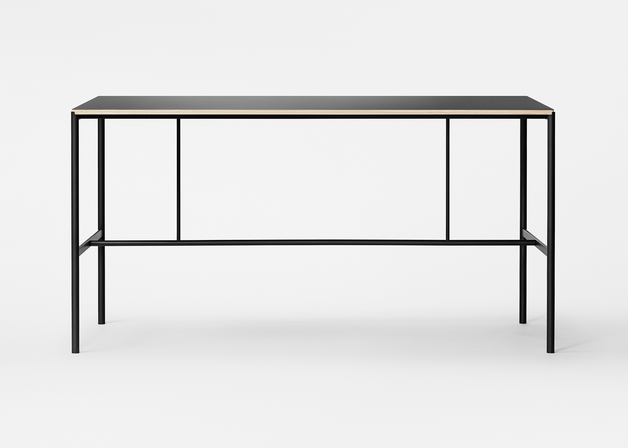 Mies High Table made from black tubular steel, plywood with linoleum top