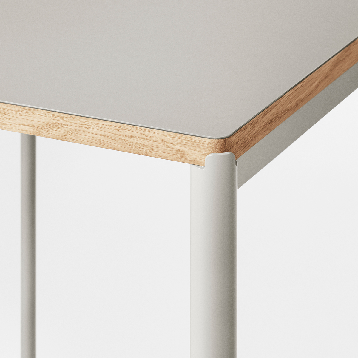 Corner detail of Mies High Table in grey