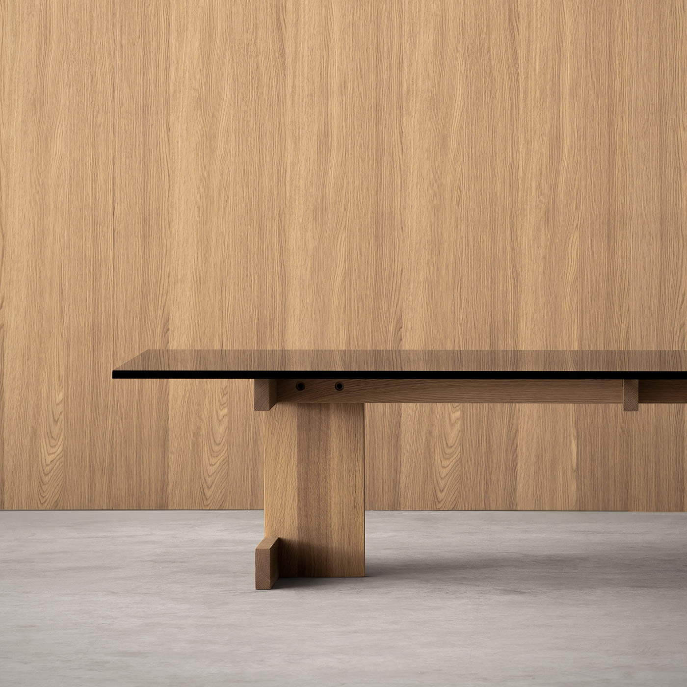 A-CT01 sofa table from Karimoku Case Study in oak and smoked glass