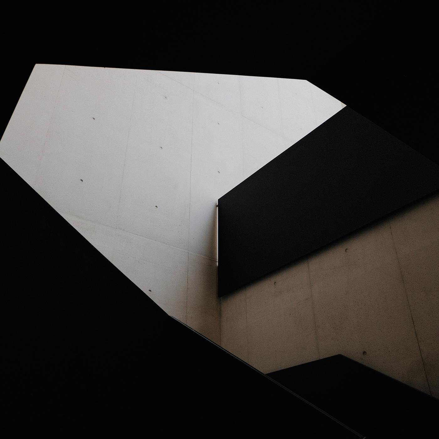 Modernist concrete building interior