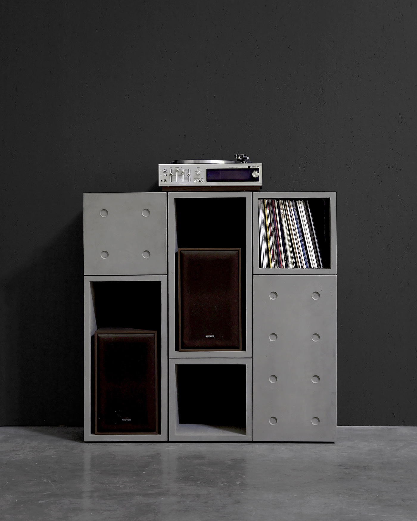 Dice modular concrete storage system with record player
