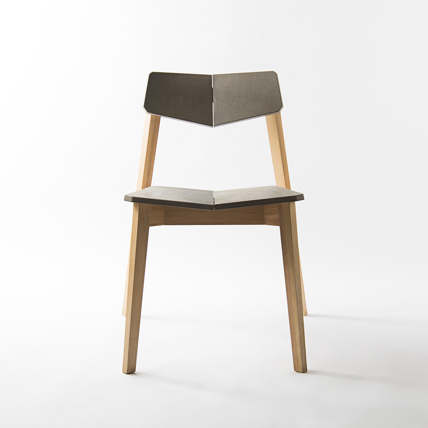 concrete and wood H chair by Bentu