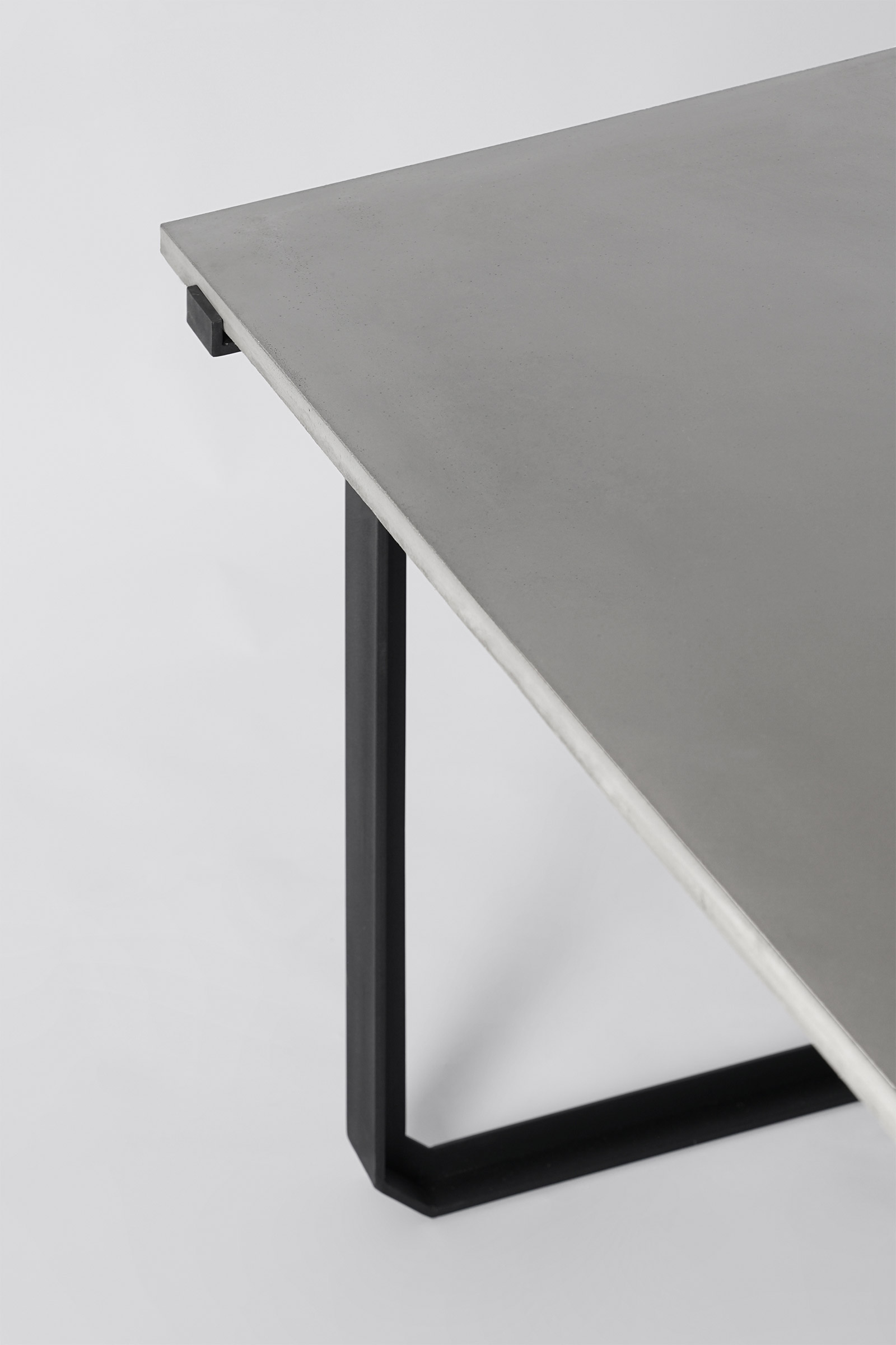 concrete and black metal Nian desk by Bentu