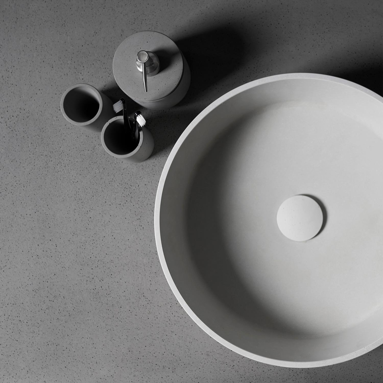 minimal round concrete wash basin