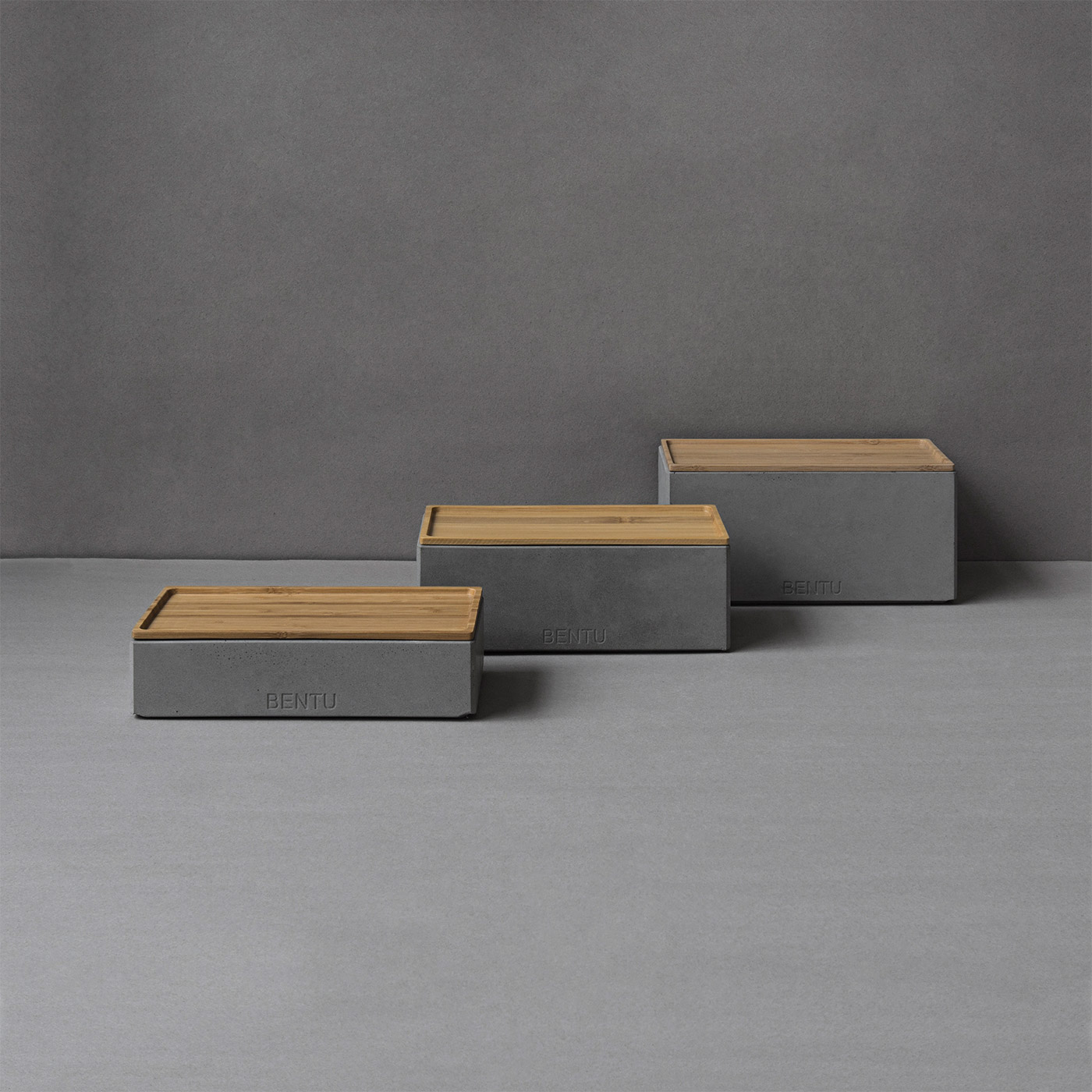 minimal concrete storage boxes with bamboo lids