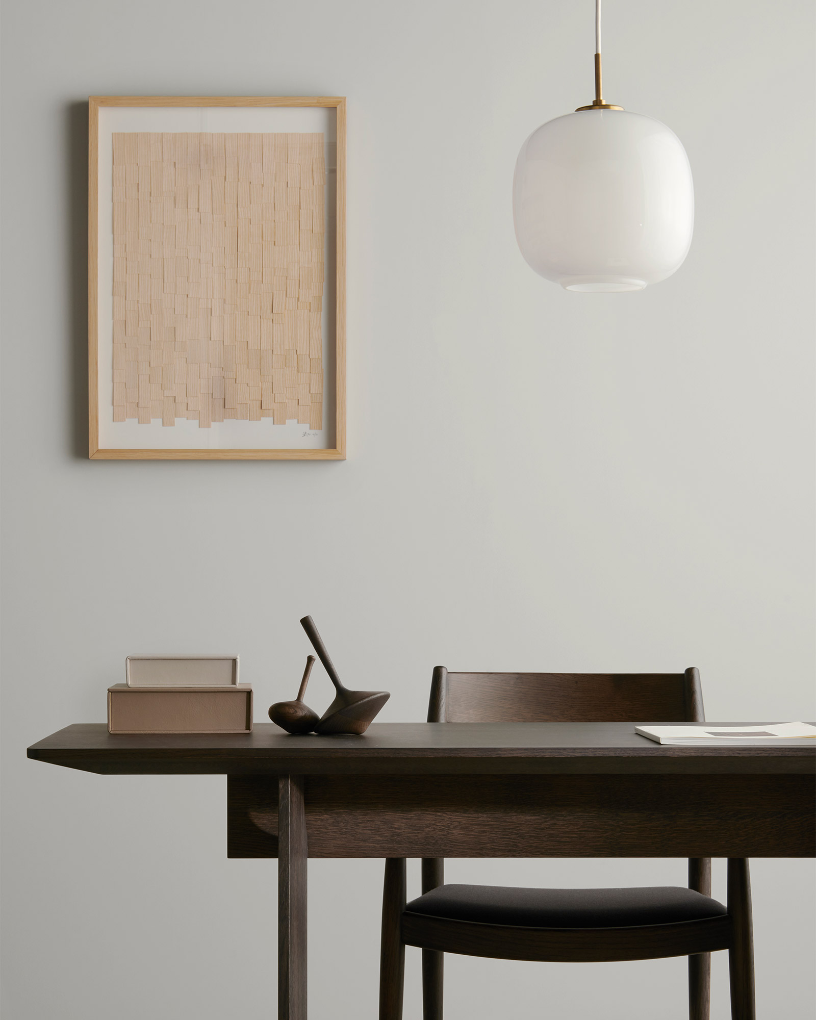 modern Japanese style home work zone with table and chair in smoked oak