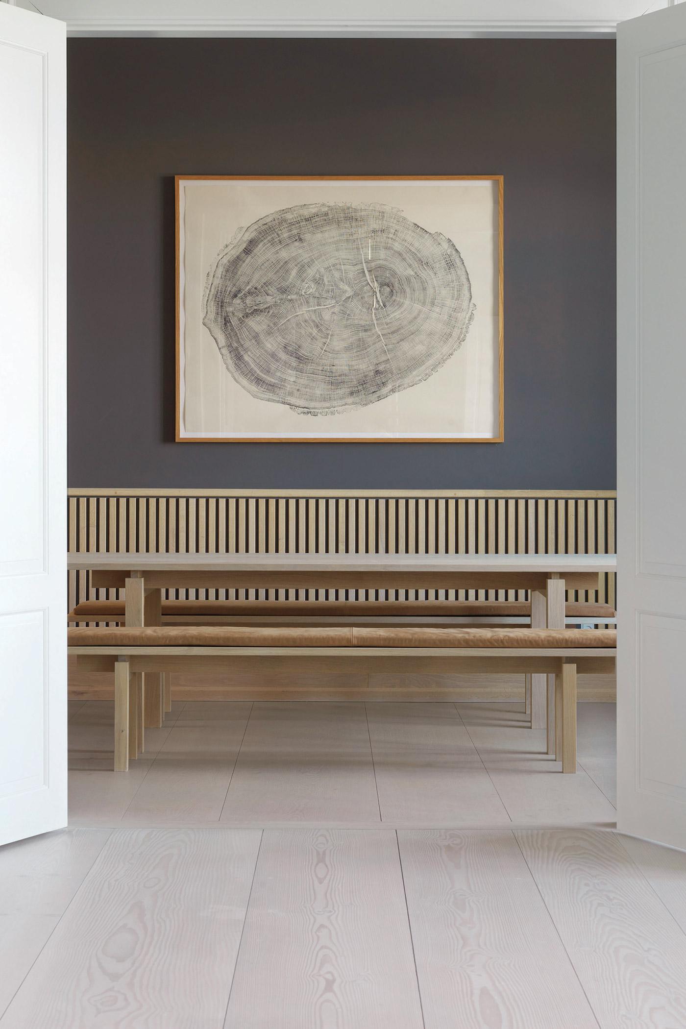 Natural douglas wooden floor in minimal Scandinavian interior