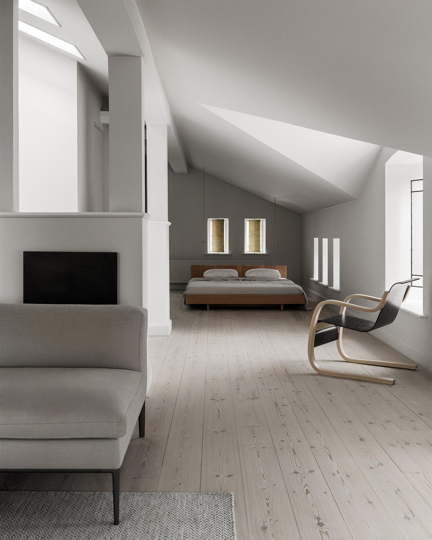 calm white minimal living room and bedroom with brass shutters