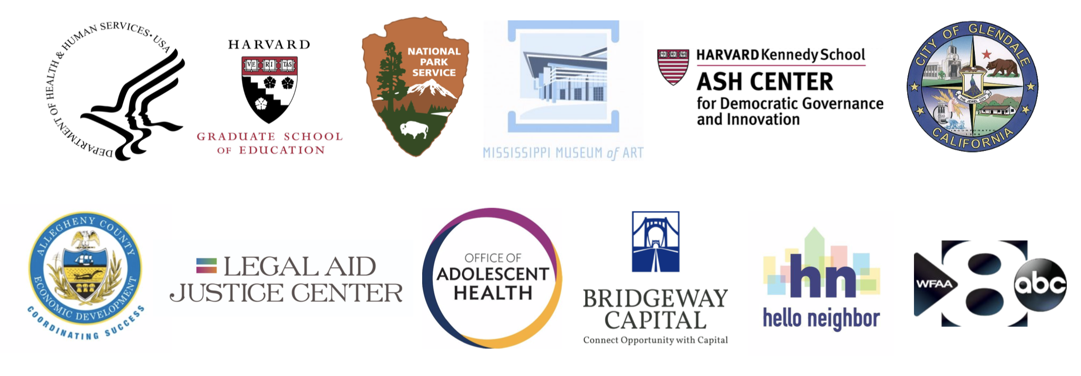 A list of logos for the organizations we've worked with.