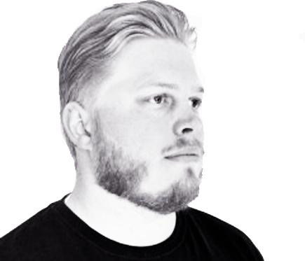 Black and white portrait of Damien Ferrari