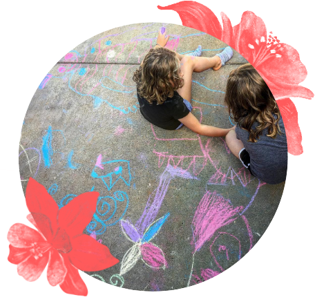 Drawing on driveway with chalk
