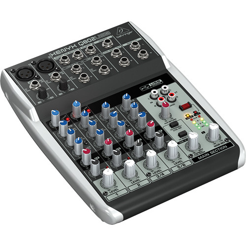 The Behringer Xenyx Q802USB is a great entry-level mixer for handling your podcast sound before it goes into your computer.