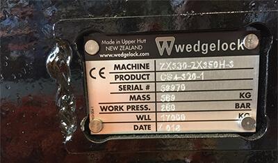 Wedgelock serial number plate