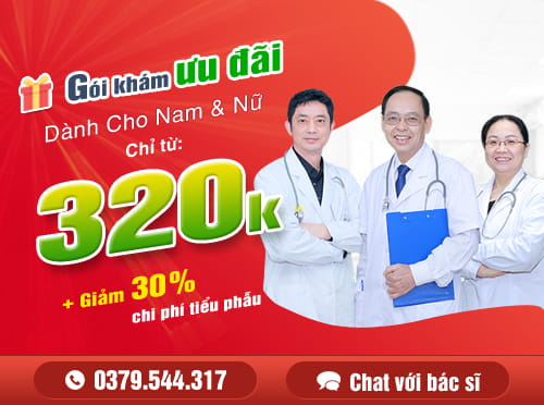 Click đăng ký gói khám nam khoa tổng quát chỉ 320K