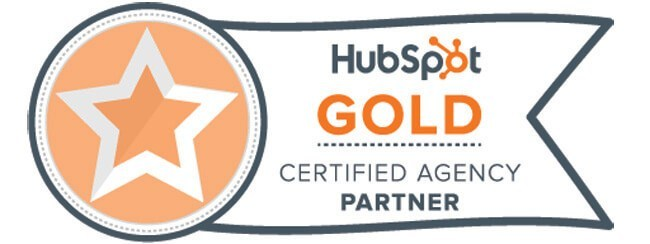 Inbound marketing agency with HubSpot gold certificate graphic