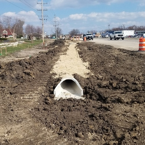 Installed storm sewer on the North Side of US Route 14, West Conner Avenue