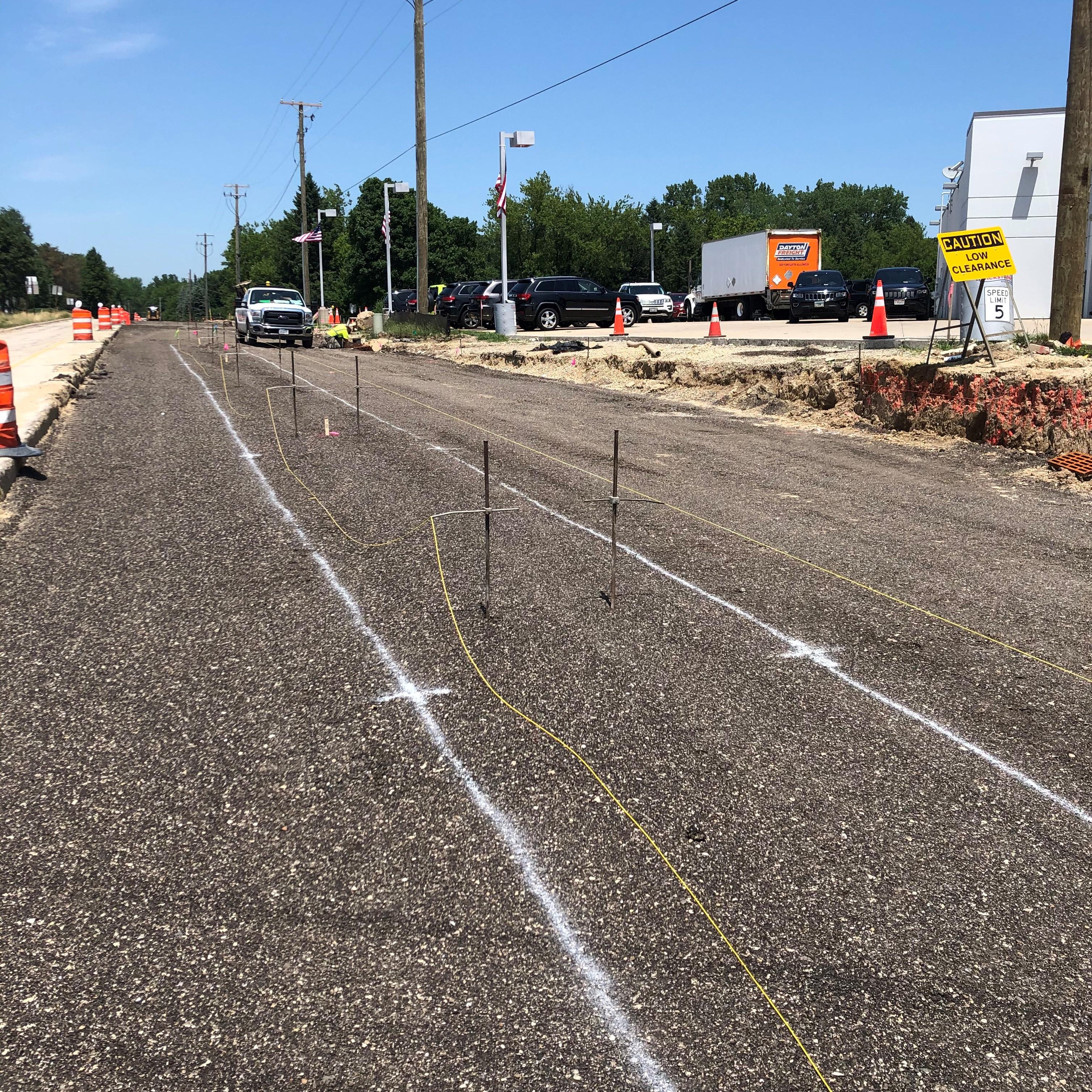 Preparation of concrete median on N. Hart Road