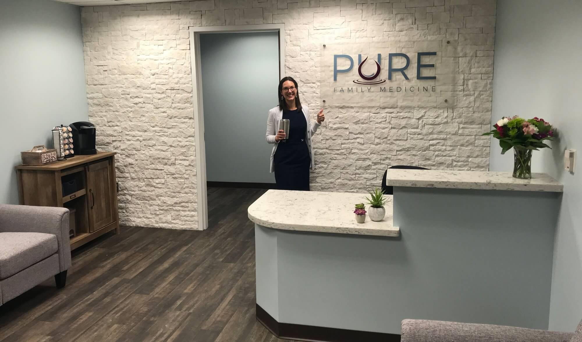 Rebecca Bub in Pure Family Medicine's lobby