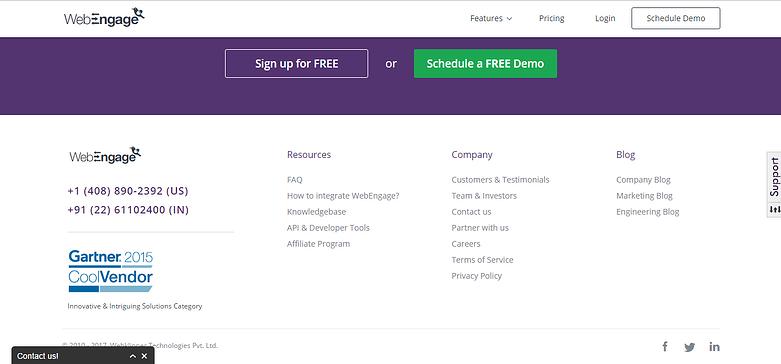 saas website design homepage elements of webengage