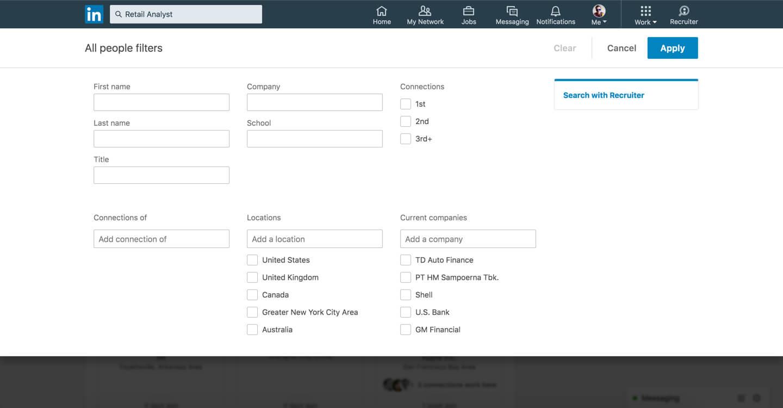 linkedin advanced search screenshot