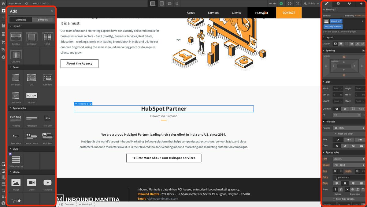 webflow designer interface