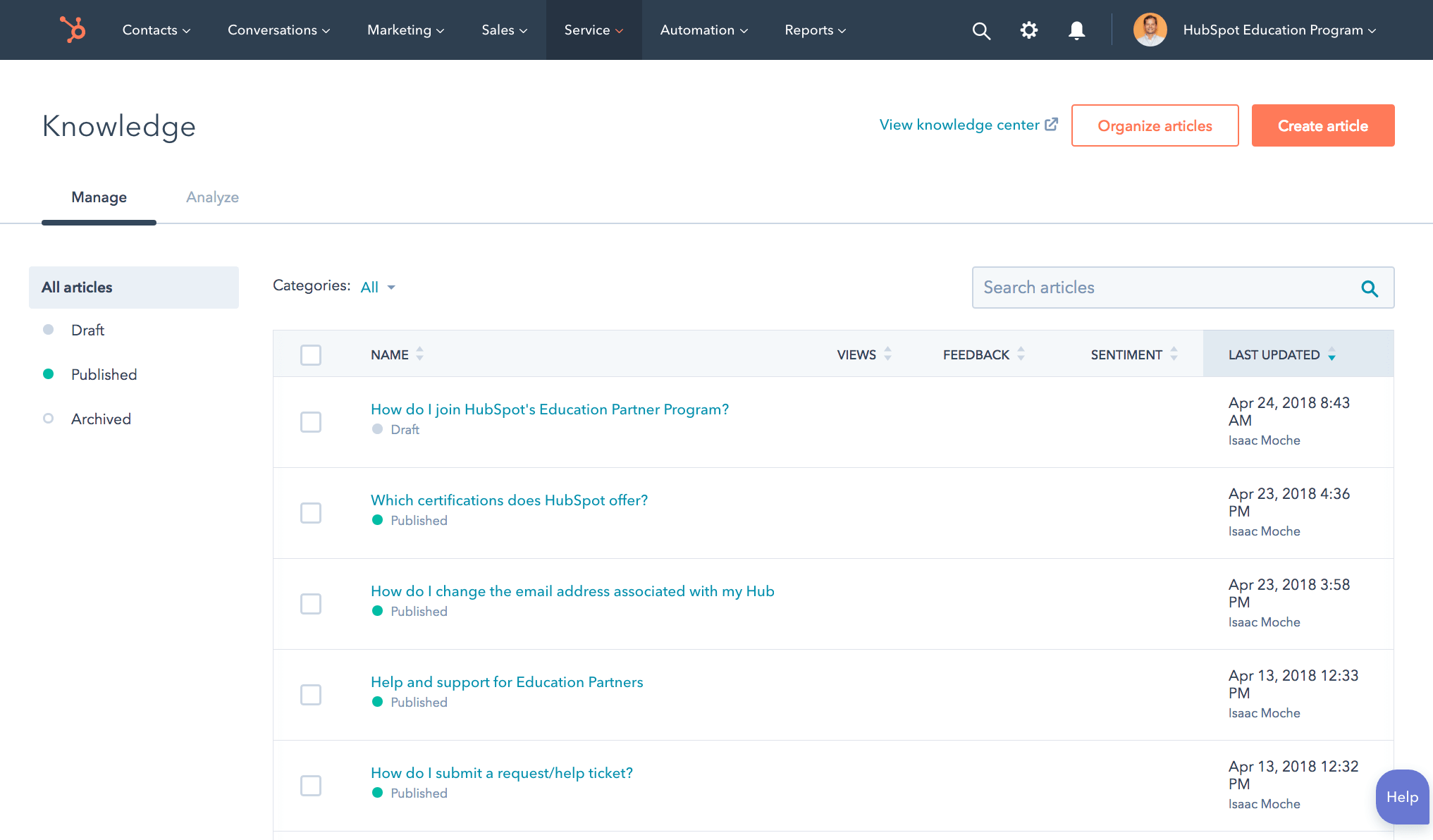 hubspot service hub knowledge base screenshot