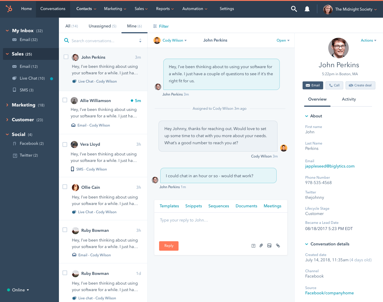 hubspot service hub conversations screenshot
