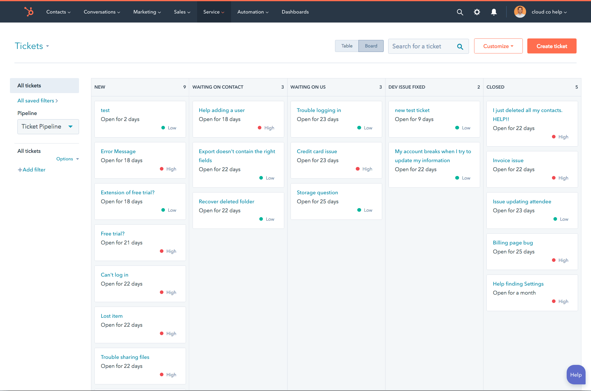 hubspot service hub tickets screenshot