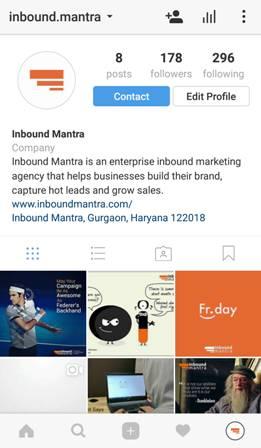 inbound mantra instagram business profile