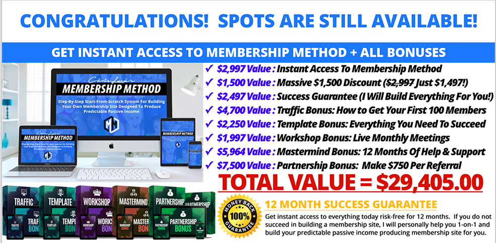 Membership Method Membership Sites Inches Size