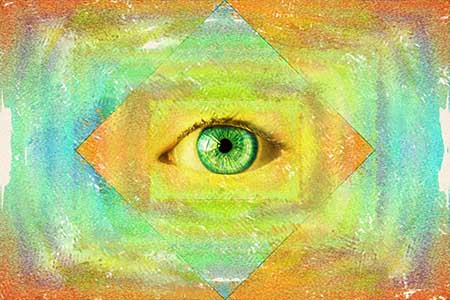 Mystical green eye surrounded by warm streaks of color.