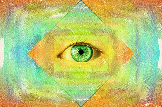 A mystical green eye surrounded by warm streaks of color hovers above a golden sea of water.