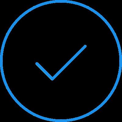 think blue check mark icon