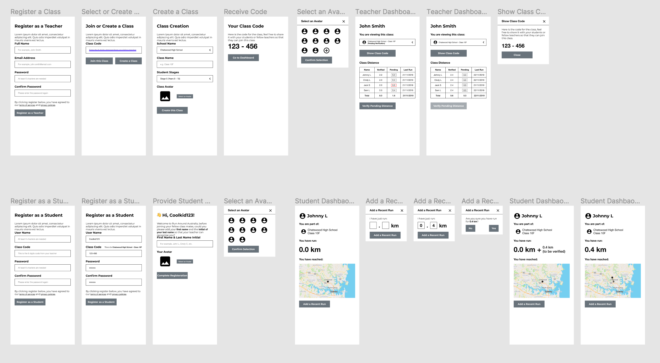 Wireframes for the Race Around Australia project