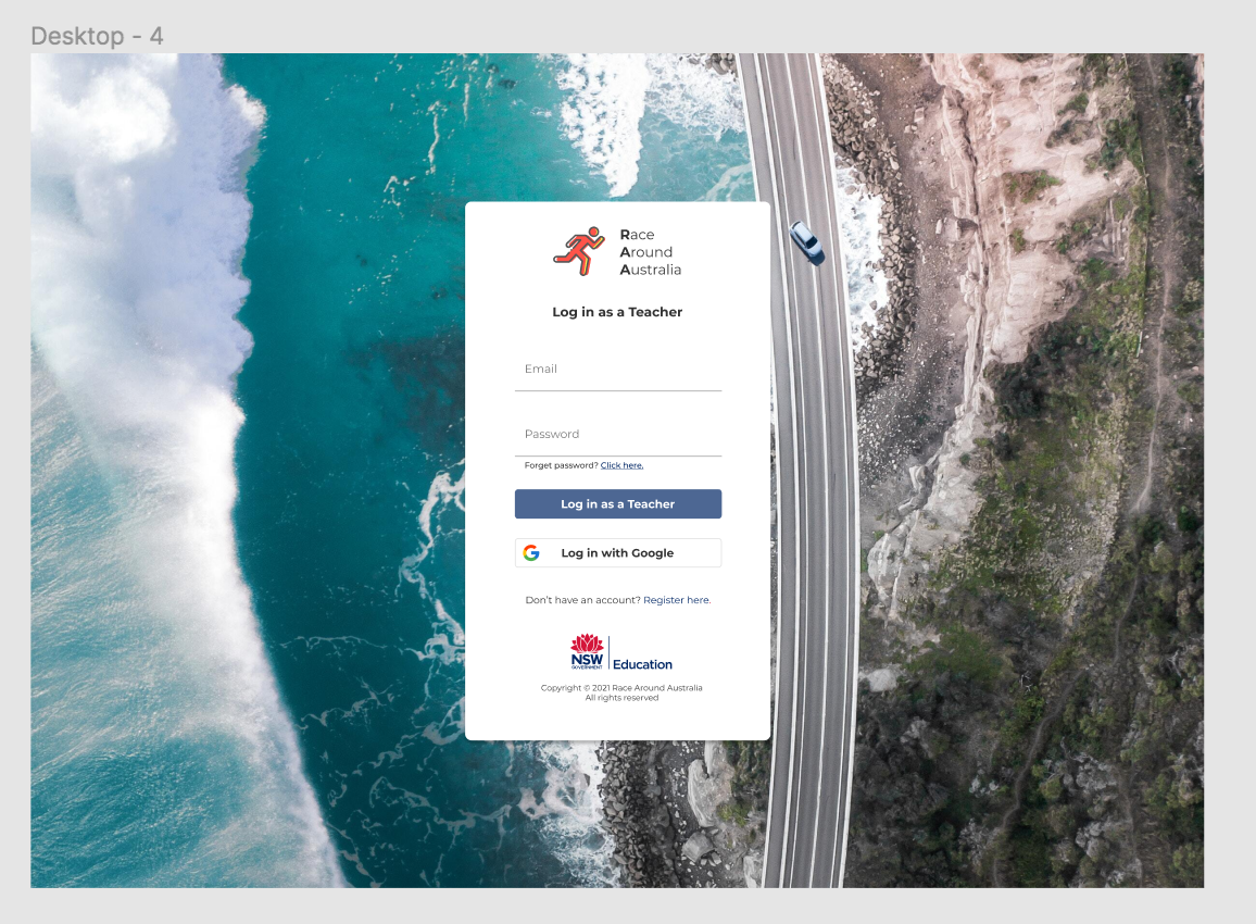 Design of the landing page for the Race Around Australia project