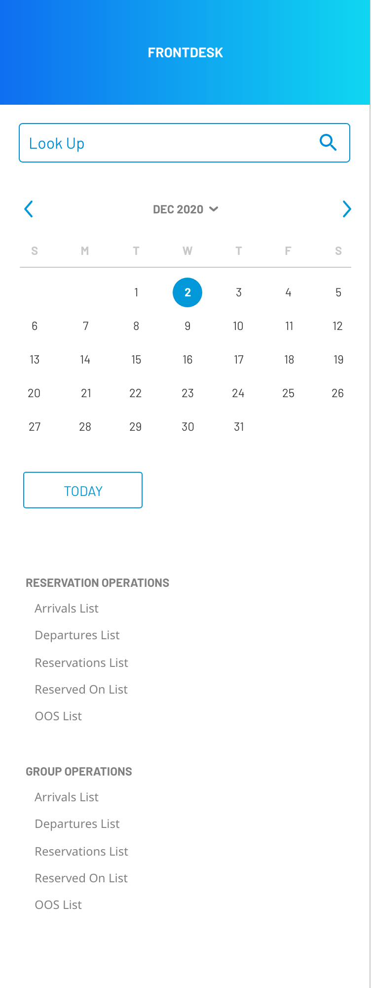 Frontdesk Anywhere calendar